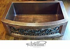 Ariellina Farmhouse 14 Gauge Copper Kitchen Sink Lifetime Warranty New AC1820 VC