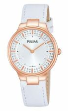 Pulsar Ladies Watch Crystal Set Silver & Rose Gold Tone Dial White Leather Strap
