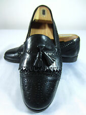 BOSTONIAN FLORENTINE Sz. 8 M BLACK KILT TASSEL BASKETWEAVE LOAFER SHOES ITALY