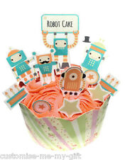 ROBOT STAND UP-Compleanno Commestibili Cupcake Topper Torta Decorazioni X 11 PEZZI