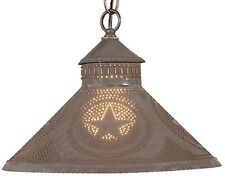 Primitive PUNCHED TIN PENDANT Light Colonial STAR Kitchen Lamp 3 Rustic Finishes