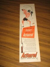 1952 Print Ad Actionrod Fishing Rods Boxer Fishes Cartoon Made in Detroit,MI