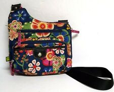 Lily Bloom Navy Blue Floral Folky Flower Crossbody Bag Purse Canvas Adjustable