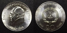 1969 DDR East Germany Large silver 20 Marks-Goethe- BU