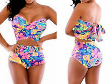 COLORFUL HIGH WAISTED FLORAL Strapless Print Bikini Swimsuit Retro Wrap Top M 6