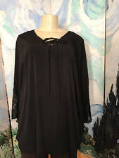 SUZIE IN THE CITY PLUS 3X BLACK TIE LACE-UP NECK 3/4 LACE BELL SLEEVE TUNIC TOP