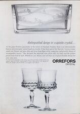 1969 Orrefors Glass Crystal Designer Ingeborg Lundin Vase & Goblets PRINT AD