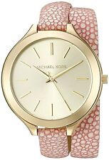 Michael Kors Women's Slim Runway Gold Tone Pink Double Wrap Leather Watch MK2476