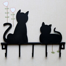 Clothes Coat hat key hanging hook Metal Iron Wall Door Rustic Hanger Black cat