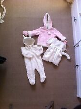 IVORY PEX DRESS& HEADBAND/PINK FAUX SUEDE HOODED JACKET&MITTS/IVORY SNOWSUIT BN