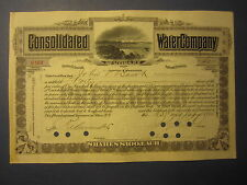Old 1905 - Consolidated WATER Co. of UTICA N.Y. - Stock Certificate - Preferred