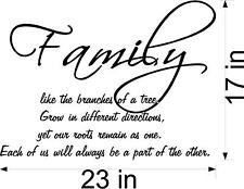 Family is like the branches of a tree quote  vinyl wall decal