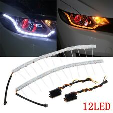 2x 12 LED Switchback LED Strip Light Sequential Turn Signal Headlight Dual Color