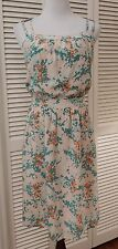 L NWT SESSUN OPEN BACK 100% SILK SUNDRESS PEACH/GREEN/ORANGE PRINT MADEWELL
