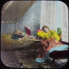 CRACKED Glass Magic Lantern Slide DREAM OF PARADISE NO5 C1890 VICTORIAN TALE