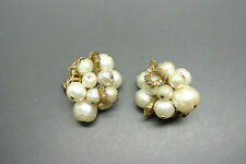 Vintage 50s Demario faux pearl glasses beaded earrings