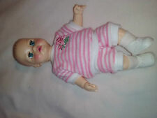 "Doll 14"" Rubber Baby 1971 Ideal Toy Corp TNT 14-HI95 white pink strip outfit"