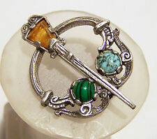 Vintage Miracle Scottish Celtic Pin Glass Agate Stone Brooch Silver Tone 916DZ