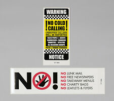 No Junk Mail Letterbox Sticker And No Cold Callers Front Door Decal Sign - 14/04