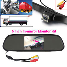 """5"""" LCD Display Rear View In-mirror Monitor+12 LED Night Vision Car Backup Camera"""