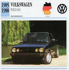 1985-1988 VOLKSWAGEN VW POLO G40 Classic Car Photo/Info Maxi Card