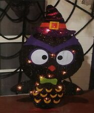THANKSGIVING HALLOWEEN FALL OUTDOOR LIGHTED TINSEL BARN HOOT OWL YARD FIGURE