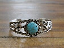 Detailed Sterling Silver Turquoise Bracelet by Leroy James