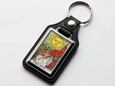 THE SUN TAROT CARD Major Arcana Rider Waite Quality Leather And Chrome Keyring