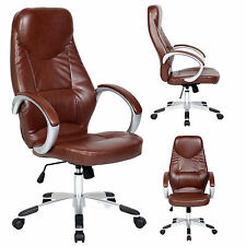 High Tall Brown PU Leather Office Executive High Back Arm Chair Adjustable Seat