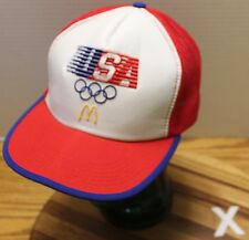 VINTAGE 1984 USA OLYMPICS MCDONALDS TRUCKERS SNAPBACK HAT LOS ANGELES GOOD COND