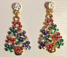 Christmas Tree Bows Rhinestone Post Drop Earrings Enamel Gold Tone*USA*Gift Box