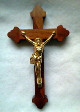 CRUCIFIX FOR HANGING - GOLD TONE ON WOOD- MADE IN CZECH