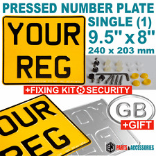 "1 x SINGLE REAR 9.5"" X 8"" MOTORBIKE MOTORCYCLE REGISTRATION PRESSED NUMBER PLATE"