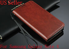 Luxury Wallet Flip PU Leather Case Stand Cover For Samsung Galaxy Note 4