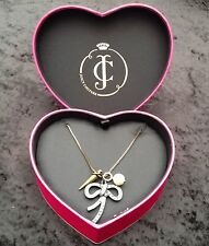 NIB Juicy Couture New Long Bronze Pewter Diamante Pendant Necklace In Heart Box