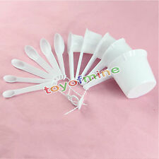 11 pcs White Plastic Kitchen Measuring Measure Spoons Cups Tablespoon Sets