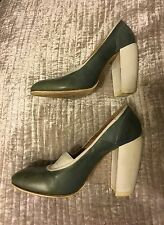 DRIES VAN NOTEN green blue grey leather canvas shoes heels 39 UK6 6.5 US8.5 9