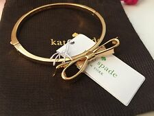 NEW KATE SPADE  LOVE NOTES LARGE BOW BANGLE BRACELET ~   gold