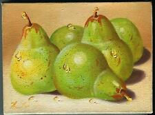 VINTAGE GREEN ANJOU PEARS DEW FRUIT BOTANICAL MINIATURE REALISM OIL ART PAINTING