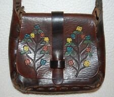 Vintage 1960's Hand Tooled Painted Floral Brown Leather Purse Handbag Hippie