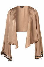 Topshop bobble trim sleeve jacket in Rare UK 12 in Taupe ( New )