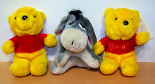 Lot of 3 Little Sears 1980s Winnie the Pooh & Eeyore Stuffies - VGC