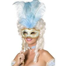 Womens Baroque Eye Mask w Feathers Blue & Gold Fancy Dress Costume Masquerade