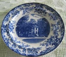 """Vintage Mintons Arnold's Sweet Briars Mansion Blue Transfer Ware 9.25"""" Plate"""