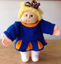 Vintage Cabbage Patch Kids Doll Girl Cheerleader Hand Made Crocheted Blonde CPK