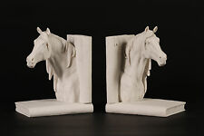 Stunning Horse Head Carrara Marble Book Ends Sculptures Horse Lovers ideal Gift