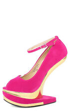 Hot Pink Fuchsia Gold Open Peep Toe Heel Less Ankle Strap Curved High Wedge 8