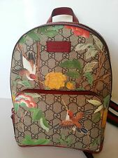 NEW Authentic Gucci GG Supreme Tian Garden Canvas Backpack Web Straps Beige/Red