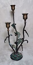 Antique Cast Iron Leaf Plant Floral Candle Holder Verdigris 11.75""