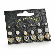 Nine Pairs Gold Colour White Tone Stud Earring Set Ladies Fashion Jewellery